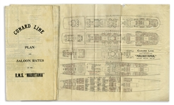 Cunard Lines RMS Mauretania Deck Plans & Rates From 1912 -- One of the Famed 19th Century Ocean Liners