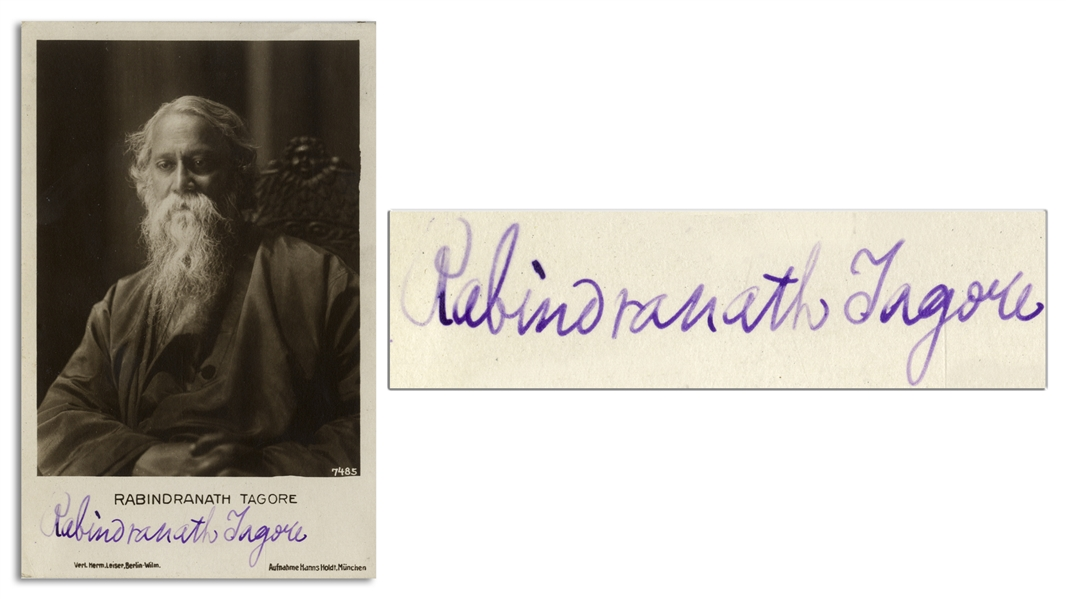 Nobel Prize Recipient Rabindranath Tagore Signed Photo