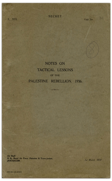 British Air Force Booklet Written in Response to the 1936 Arab Revolt in Palestine -- ''Notes on Tactical Lessons of the Palestine Rebellion, 1936''