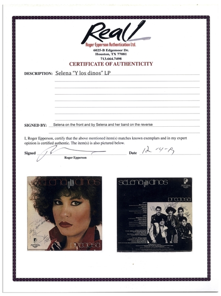 Selena Twice-Signed ''Preciosa'' Album -- Signed ''Selena'' on the Front & ''Selena Quintanilla'' on Back -- With Roger Epperson COA