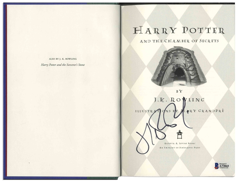 J.K. Rowling Signed First U.S. Edition of ''Harry Potter and the Chamber of Secrets'' -- Signature Certified by Beckett