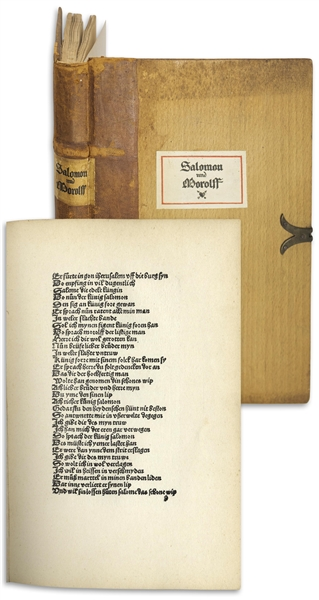 German Language Edition of ''Solomon and Marcolf'' -- Bound in Wood & Leather With Metal Clasp