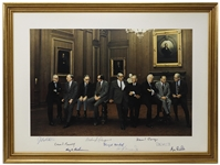 The Burger Supreme Court Signed 21 x 15.25 Photo Showing the Justices in an Informal Pose -- Signed by All Nine Justices, From 1977