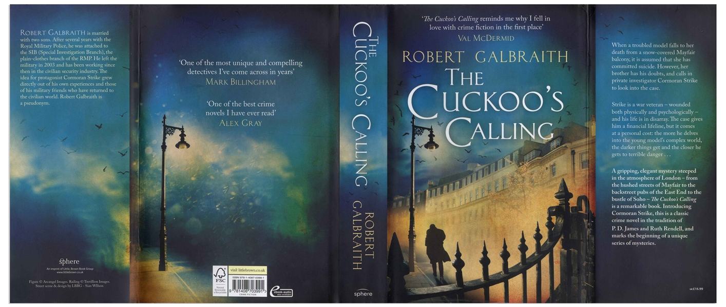 J.K. Rowling Signed First Edition, First Printing of ''The Cuckoo's Calling'' Written Under Her Pseudonym Robert Galbraith -- With Beckett Authentication