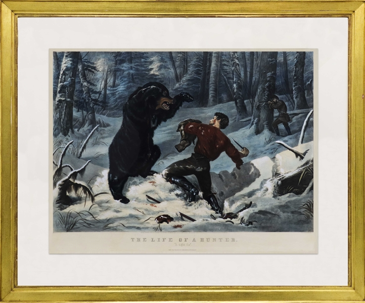 Currier & Ives Hand-Colored Lithograph Measuring -- 19th Century Print Remains Boldly Colored
