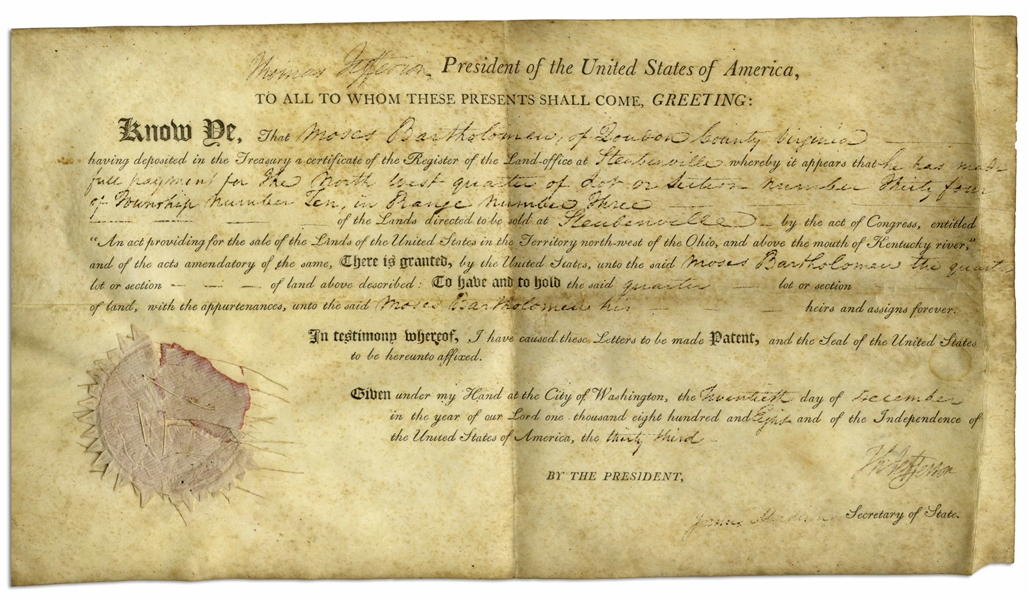 Thomas Jefferson Land Grant Signed as President -- Countersigned by James Madison as Secretary of State