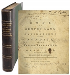 First Edition From 1776 of A Code of Gentoo Laws, or, Ordinations of the Pundits -- Translation of Hindu Law to Facilitate English Colonial Rule