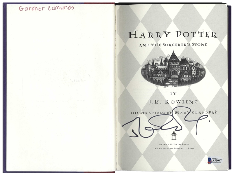 J.K. Rowling Signed First U.S. Edition of ''Harry Potter and the Sorcerer's Stone'' -- Signature Certified by Beckett