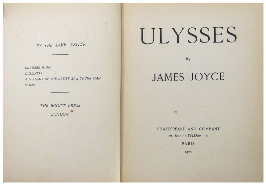 James Joyce ''Ulysses'' First Edition From 1922 -- #877 of the 1,000 Copies in the Rare First Edition