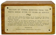 Section of Wood From the White House -- Removed During 1927 Reconstruction