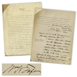 William Taft Letter Signed During WWI With Long Autograph Note Signed -- 5 Days After His Son Charlie Sailed Off to War, Taft Pens, I shall be anxious for those in peril on the sea for some time