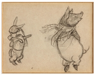 E.H. Shepard Drawing of a Rabbit & Pig Dancing, Titled Dogs, Ow! - Stick, O My! -- Done for Berties Escapade