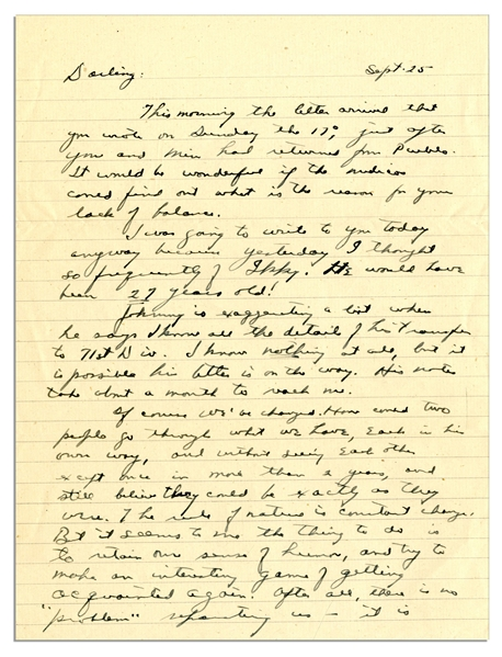 Dwight Eisenhower WWII Autograph Letter Signed to Mamie -- ''...Of course we've changed. How could two people go through what we have...and still believe they could be exactly as they were...''