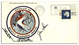 Apollo 15 Crew-Signed NASA Insurance Cover -- From Al Wordens Personal Collection, as Written by Him, and Also With His Signed COA