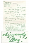 Legendary Basketball Coach Phog Allen Autograph Letter Signed & Initialed -- ...By that time I had lost all desire to follow through my assigned intention...