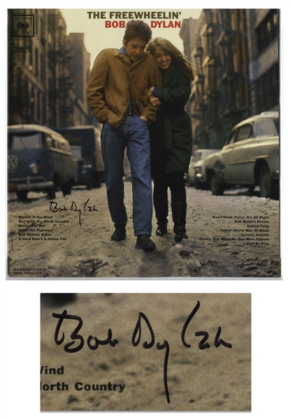 Bob Dylan Signed Album ''The Freewheelin' Bob Dylan'' -- With COAs From Jeff Rosen and Roger Epperson