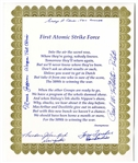 WWII Poem Signed by Five Enola Gay Crew Members -- Tom Ferebee, Theodore Van Kirk, Morris Jeppson, George Caron & Paul Tibbetts
