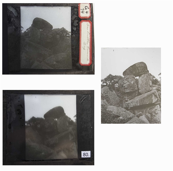 Civil War Magic Lantern Slide From the Summit of Little Round Top at Gettysburg -- Shown as the Hill Appeared in the 19th Century
