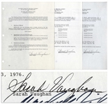 Jazz Singer Sarah Vaughan Lot of 5 Documents Signed -- Plus a Binder From Her Company Containing Unsigned Documents Related to Her Career
