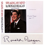 Ronald Reagan Signed First Edition of His Book Speaking My Mind