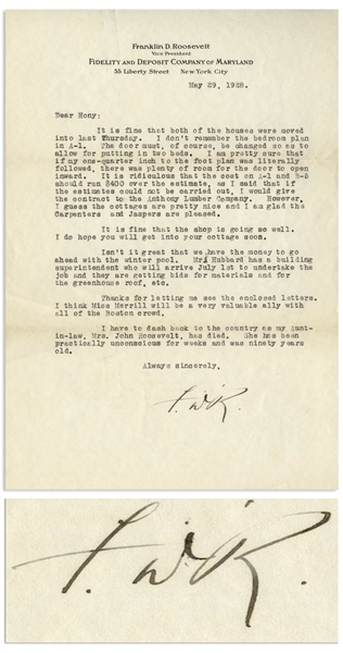 Franklin D. Roosevelt Letter Signed From 1928 Regarding Warm Springs -- ''...Isn't it great that we have the money to go ahead with the winter pool...''