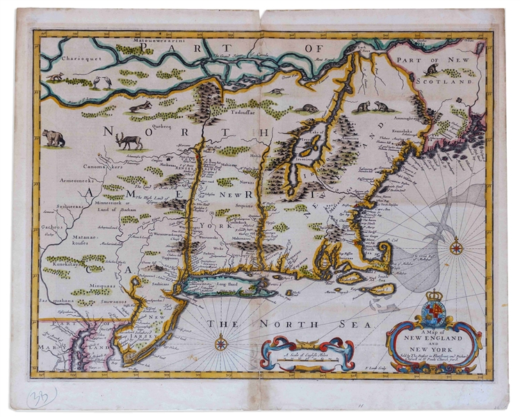 17th Century Map of New England, the First Map With Anglican Names Reflecting the Shift From Dutch to English Rule