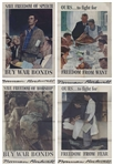 Norman Rockwell Signed Four Freedoms Posters Measuring 28.5 x 40 -- Complete Set of Four Posters From 1943 Each Signed by Rockwell, Without Inscription