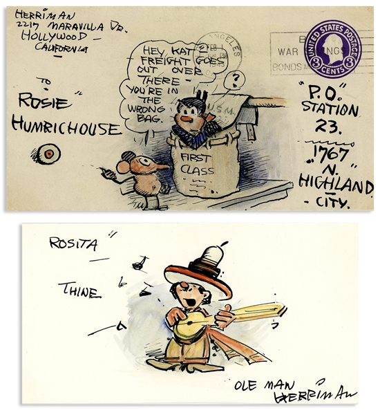 George Herriman Lot of Original ''Krazy Kat'' Artwork -- Herriman Draws an Envelope With Krazy Kat & Ignatz, and Also a Card With ''Ole Man Herriman'' Serenading a Friend