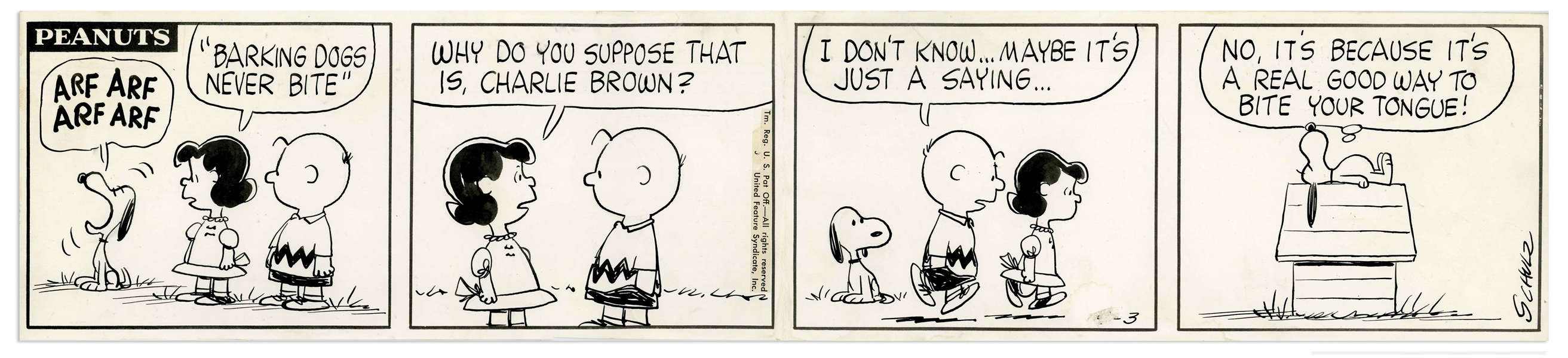 Original Charles Schulz Hand-Drawn ''Peanuts'' Comic Strip From 1960 Featuring Charlie Brown, Snoopy & Lucy -- ''Barking Dogs Never Bite''