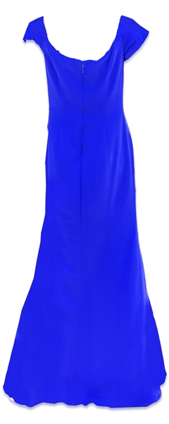 Whitney Houston Worn Electric Blue Badgley Mischka Evening Dress