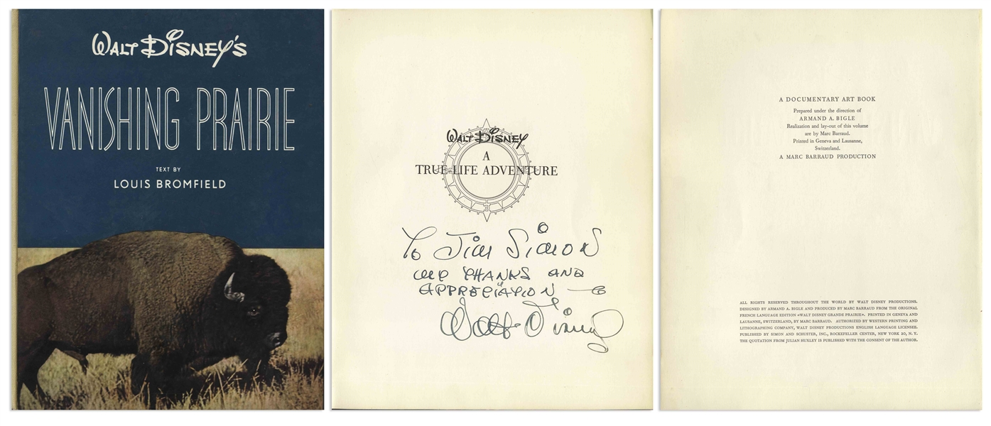 Walt Disney Lot of Three Signed Illustrated Books From the ''True-Life Adventures'' Nature Documentary Series -- Each Inscribed to Disney Cinematographer James Simon