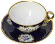 Margaret Thatcher Personally Owned China -- Tea Cup & Saucer in a Navy Blue Floral Pattern