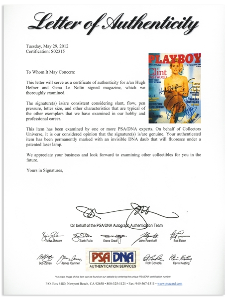 Hugh Hefner Signed ''Playboy'' Magazine -- Also Signed by Playmate and Baywatch Star Gena Lee Nolin -- With PSA/DNA COA