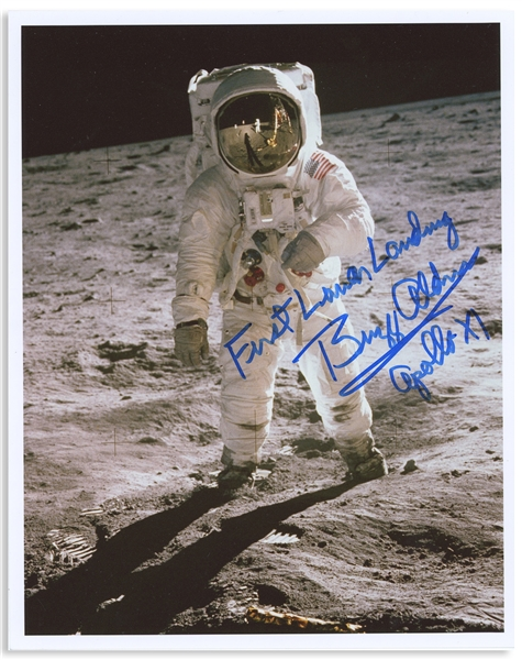 Buzz Aldrin 8'' x 10'' Photo Signed ''First Lunar Landing / Buzz Aldrin / Apollo XI'' -- With Steve Zarelli COA