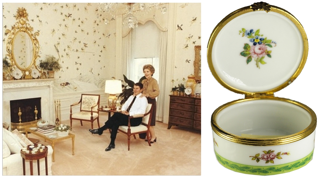 Ronald & Nancy Reagan Personally Owned Pillbox -- Displayed at the White House