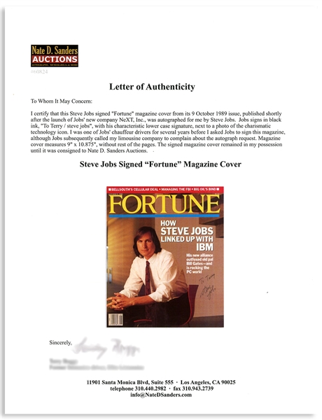 Steve Jobs Signed ''Fortune'' Magazine Cover From 1989 -- With an LOA From the Consignor, Jobs' Limousine Driver -- With JSA COA
