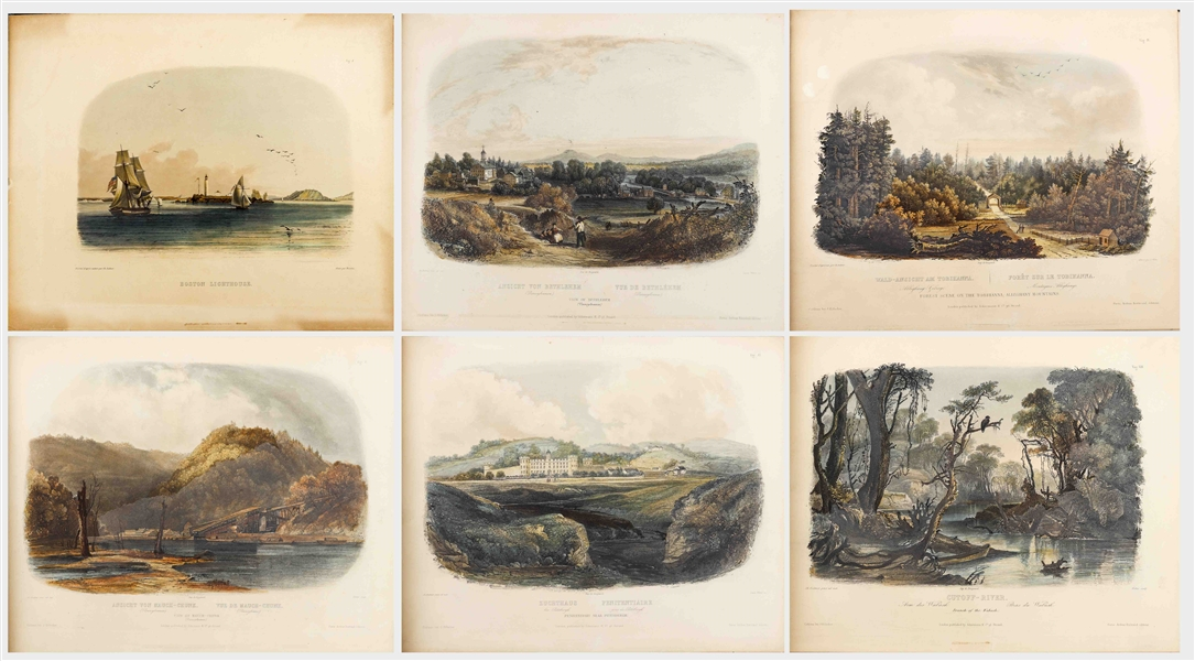 81 Beautiful Hand-Colored Aquatints by Karl Bodmer Depicting the American Frontier in the 1830s -- Contained in the Illustrated Travelogue ''Prince of Wied's Travels in the Interior of North America''