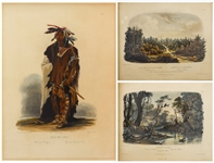 81 Beautiful Hand-Colored Aquatints by Karl Bodmer Depicting the American Frontier in the 1830s -- Contained in the Illustrated Travelogue Prince of Wieds Travels in the Interior of North America