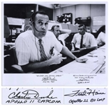 Charlie Duke and Fred Haise Signed 20 x 16 Photo of the Apollo 11 Mission Control -- Duke, the CAPCOM for Apollo 11, Writes WE COPY YOU DOWN EAGLE!
