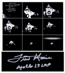 Fred Haise Signed 20 x 16 Photo of Apollo 13s Lifeboat, the Lunar Module After It Was Jettisoned Just Before Reentry -- Haise Writes The end of our lifeboat Aquarius!