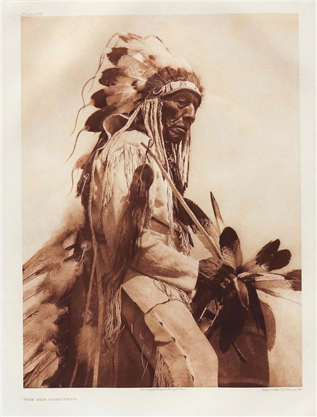 Edward Sheriff Curtis Original Large Photogravure Plate of ''The Old Cheyenne'' -- From ''The North American Indian''