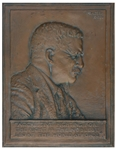 Theodore Roosevelt Bronze Plaque by Sculptor James Earle Fraser -- Original Bas-Relief Sculpture From 1920