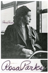 Rosa Parks Signed 8 x 10 Photo of Her Sitting in a Bus
