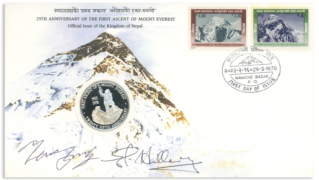 Sir Edmund Hillary & Tenzing Norgay Signed First Day Cover -- With Limited Edition Coin Marking the 25th Anniversary of Everest's First Ascent