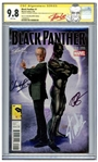 Black Panther Comic #1 Signed by Chadwick Boseman, Director Ryan Coogler and Creator Stan Lee -- Boseman Writes 42 Next to His Name, Referencing Jackie Robinsons Number