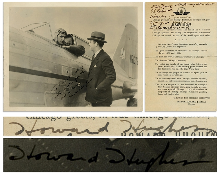Lot of Two Exceptional Howard Hughes Signed Items -- Howard Hughes Signed 10'' x 8'' Photo, and Round-the-World Promotional Card Signed by Howard Hughes and His Entire Flight Crew