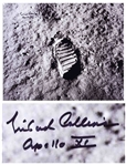 Michael Collins Signed 20 x 16 Photo of Buzz Aldrins Footprint Upon the Moon