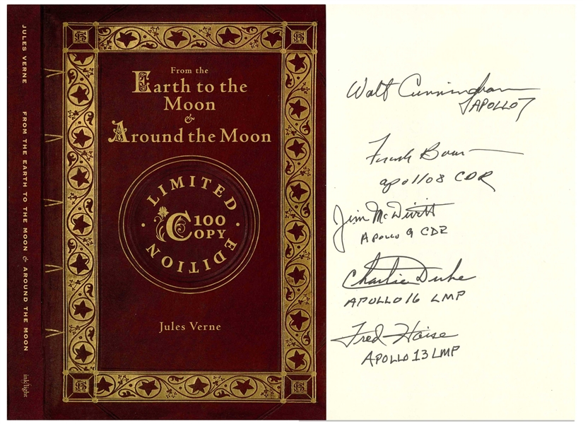 ''From the Earth to the Moon & Around the Moon'' Limited Edition Novel Signed by Five Apollo Astronauts: Walt Cunningham, Frank Borman, James McDivitt, Charlie Duke & Fred Haise