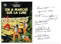Charming Tintin Book About the Moon Landing Signed by Five Apollo Astronauts: James McDivitt, Frank Borman, Walt Cunningham, Charlie Duke & Fred Haise