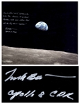 Frank Borman Signed 20 x 16 Photo, With a Handwritten Biblical Quote: ...Let the waters under the Heavens be gathered together into one place. And let the dry land appear...